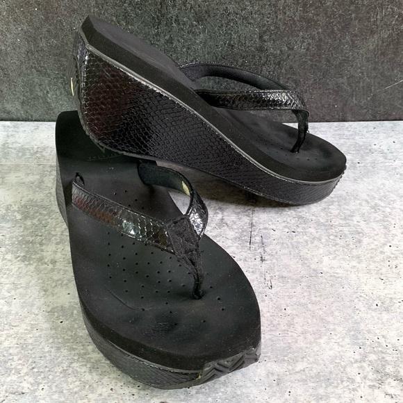 Volatile Faux Snakeskin Black Wedge Sandal 8